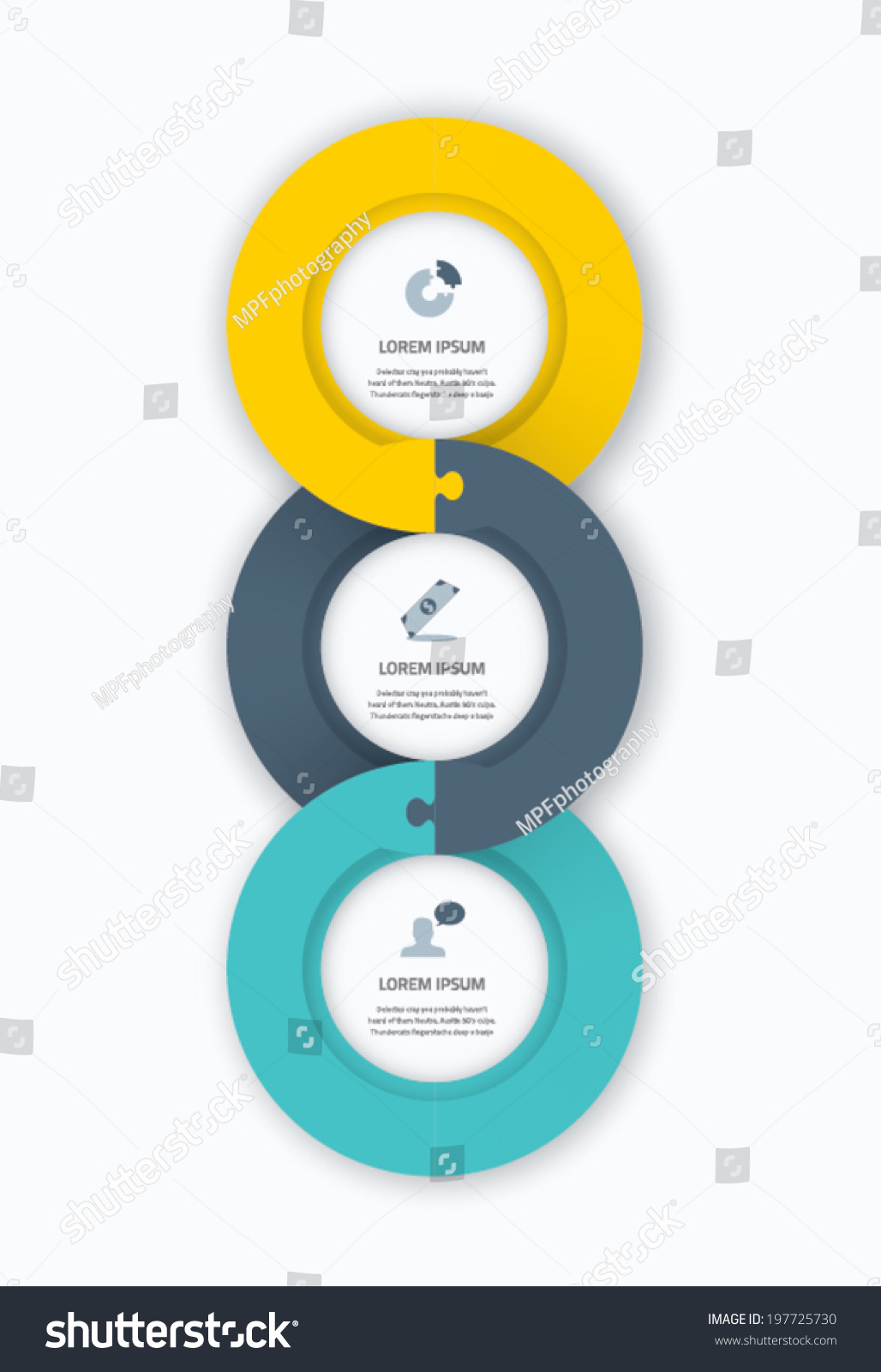 Infographic Circle Timeline Web Template For Business With Icons And Puzzle Piece Jigsaw Concept
