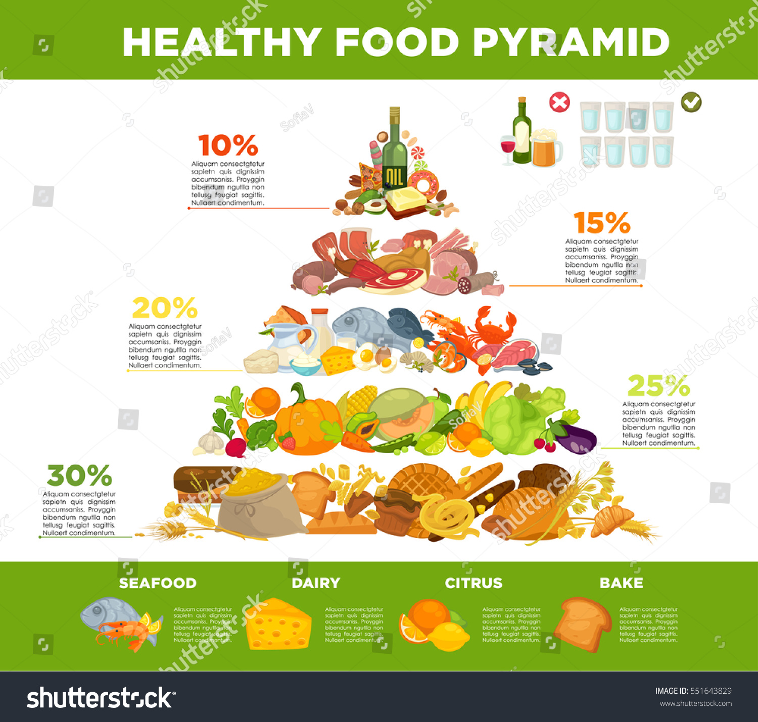 Infographic Food Pyramid Healthy Eatingt Stock Vector
