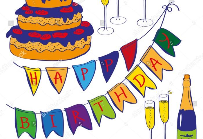 Inscription Happy Birthday On Flags Cake Stock Vector Royalty Free