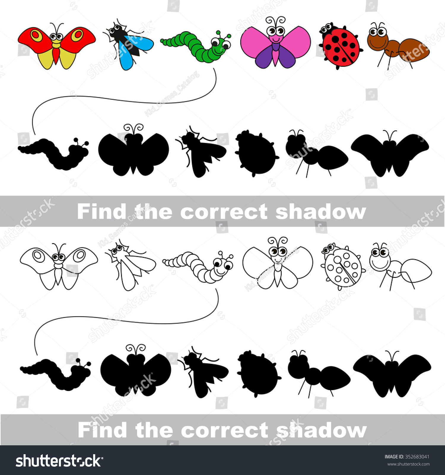 Insects Set Find Correct Shadow Stock Vector