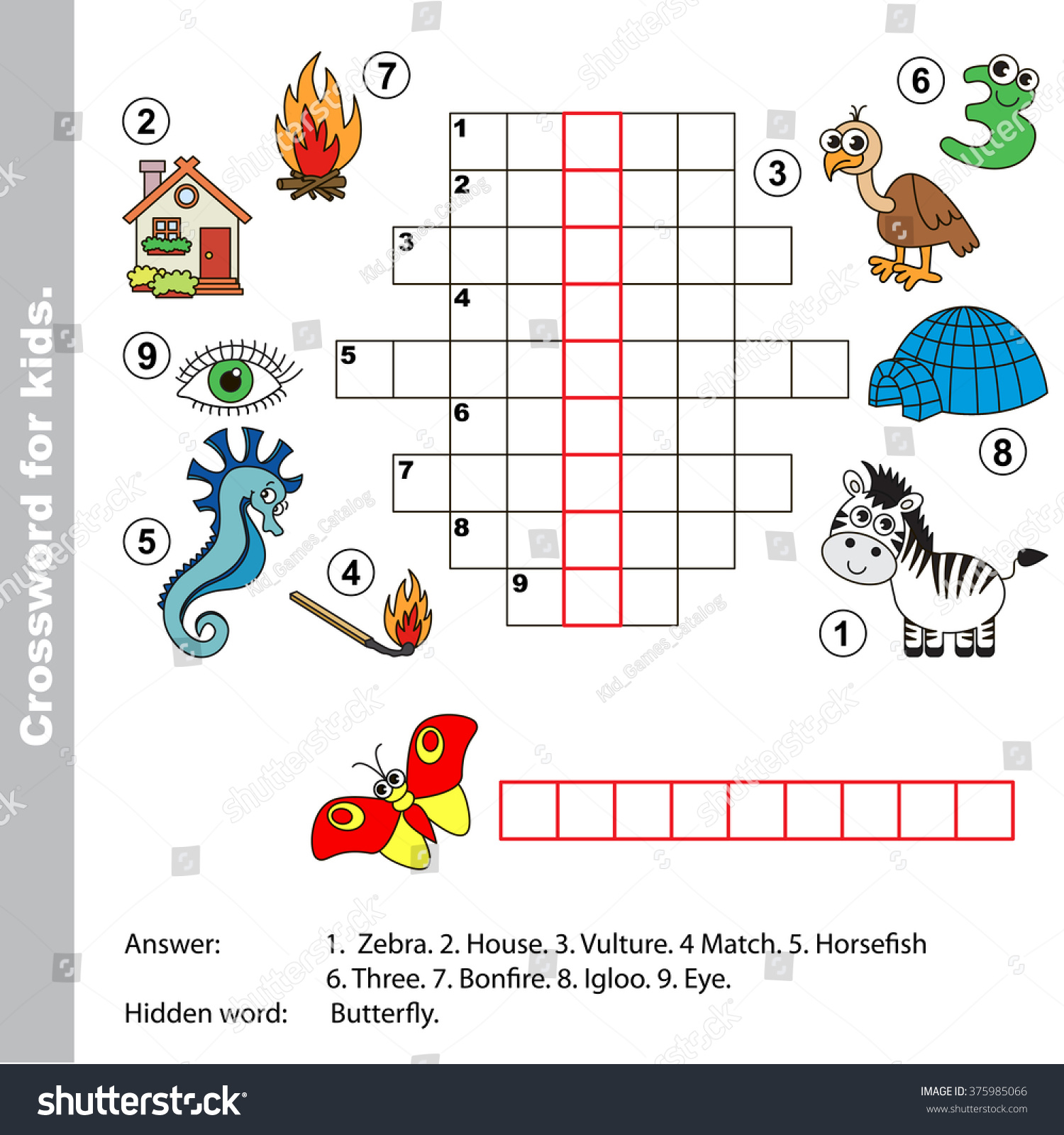 Interesting Crossword For Kids Task And Answer Colorful