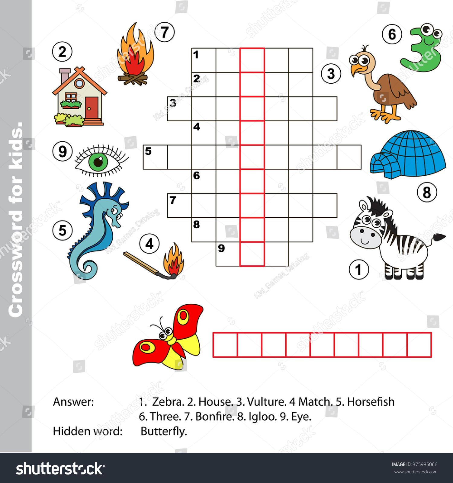 Interesting Crossword Kids Task Answer Colorful Stock