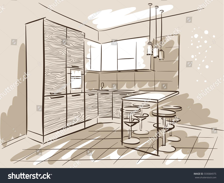 Interior Design Sketch Kitchen Dinner Table Stock Vector