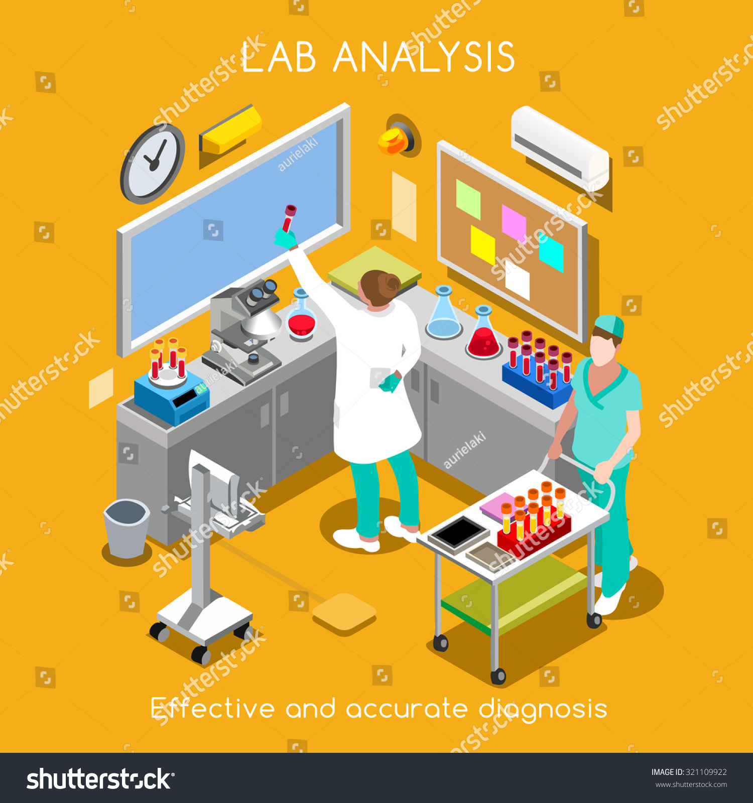 Isometric Vector Science Clinic Laboratory Room Stock Vector