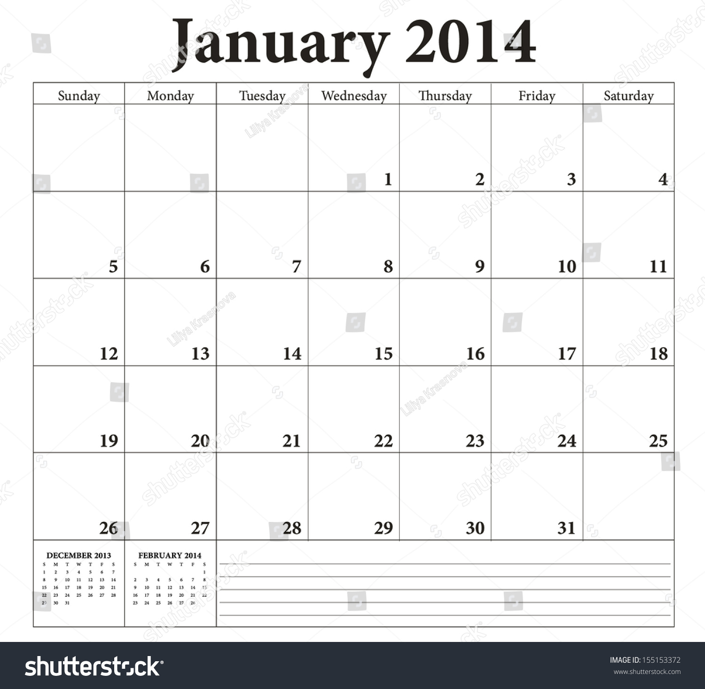 January Planning Calendar Weeks Start On Sunday Stock Vector Illustration