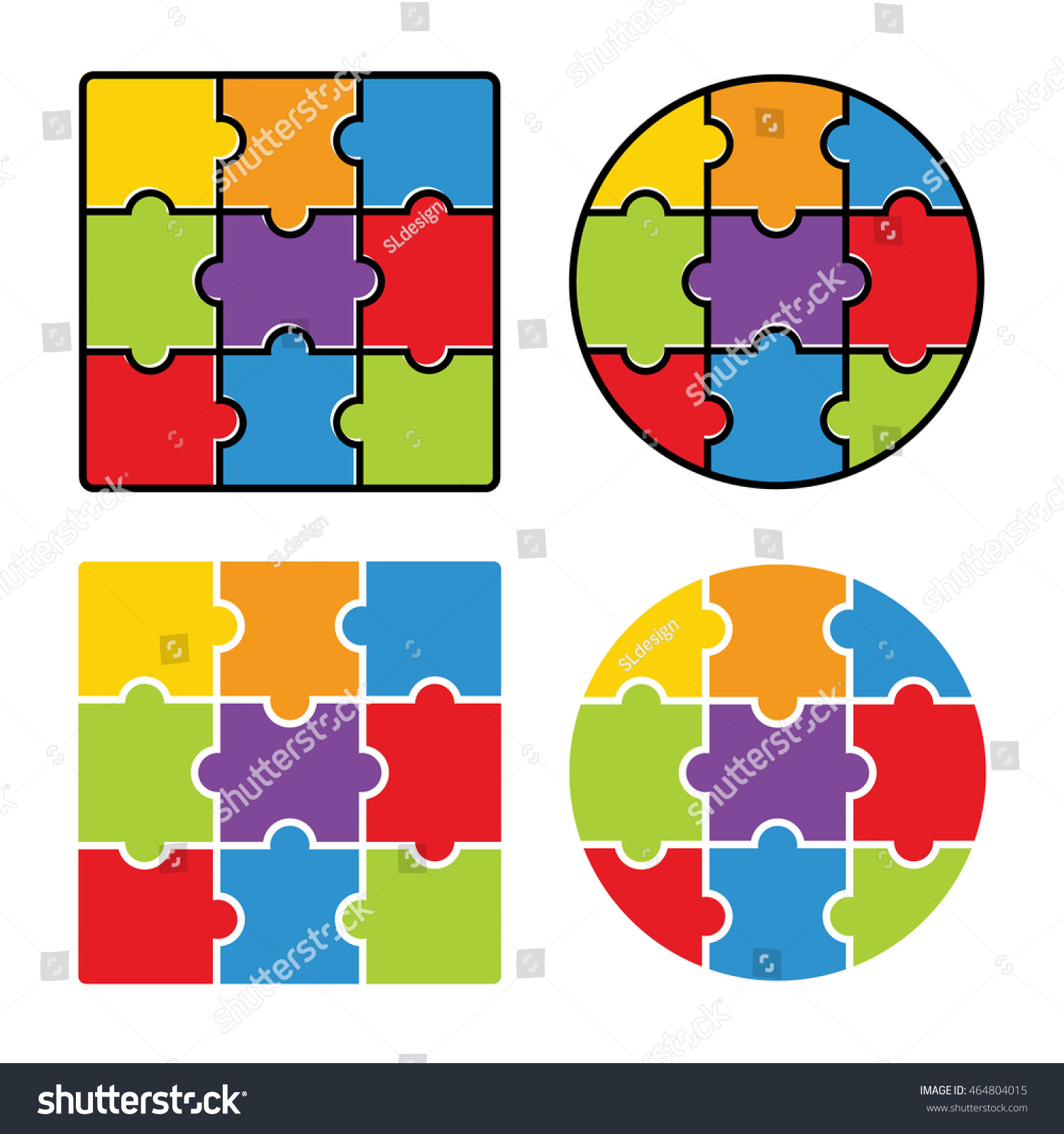 Jigsaw Puzzle Blank Simple Template 3 Stock Vector