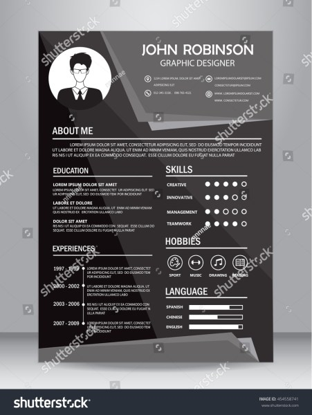 Job Resume CV Black White Design Stock Vector 454558741   Shutterstock Job resume or CV in black and white design  layout template in A4 size