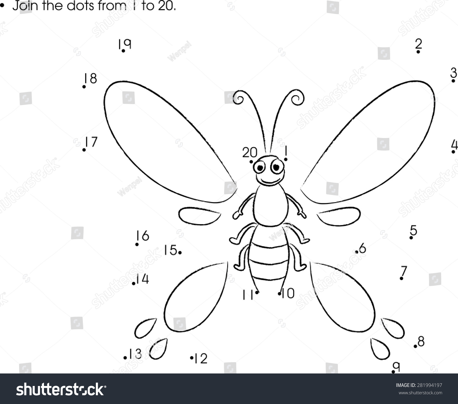 Join Dots Numbers 1 20 Stock Vector