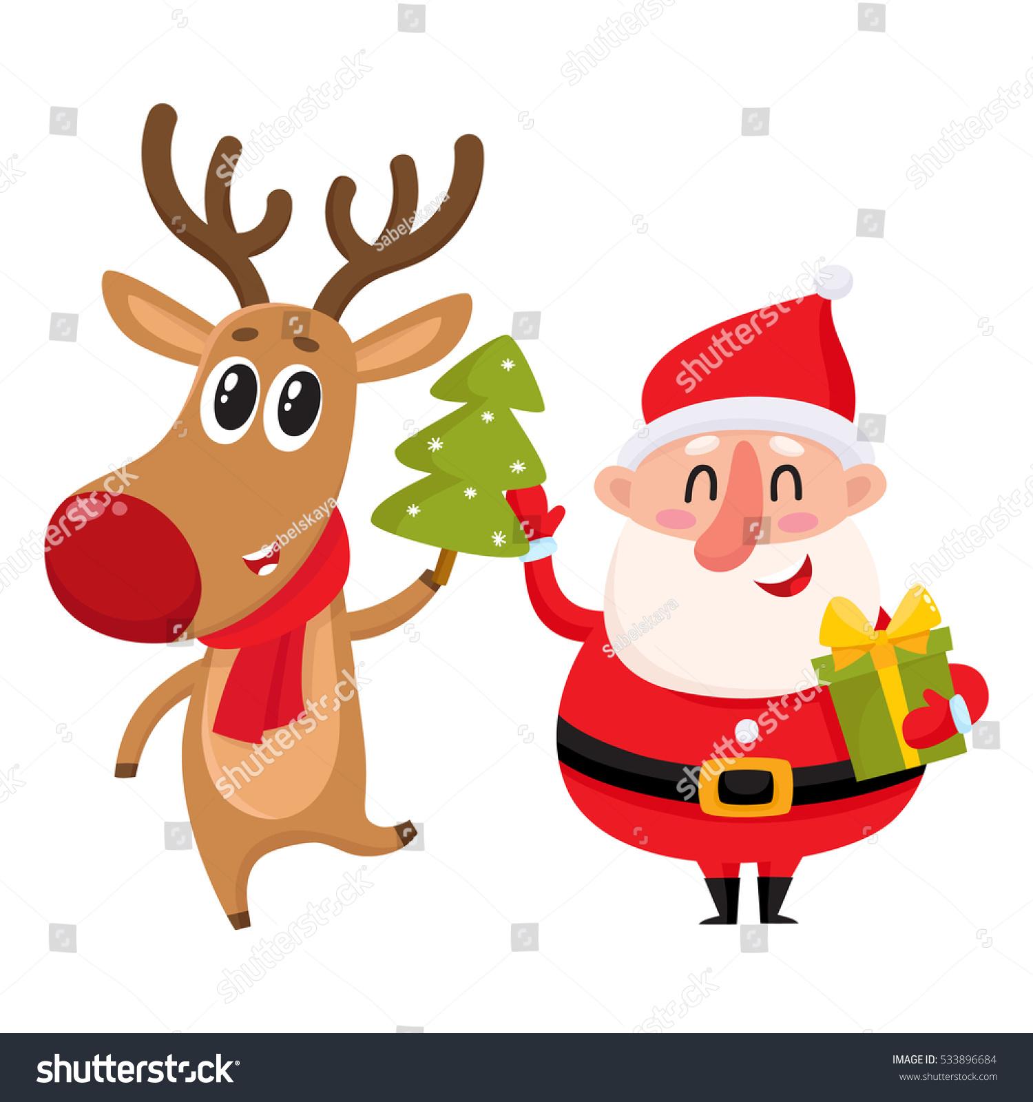 Jolly Santa Smiling Reindeer Stands Christmas Stock Vector