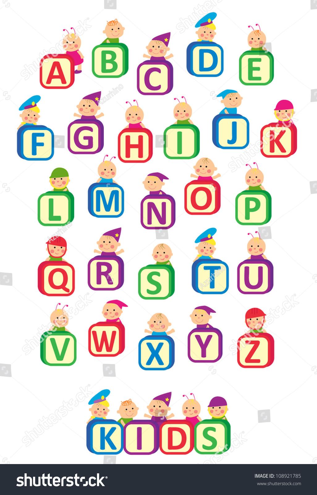 Kids Alphabet Design Kids Hold Blocks Stock Vector