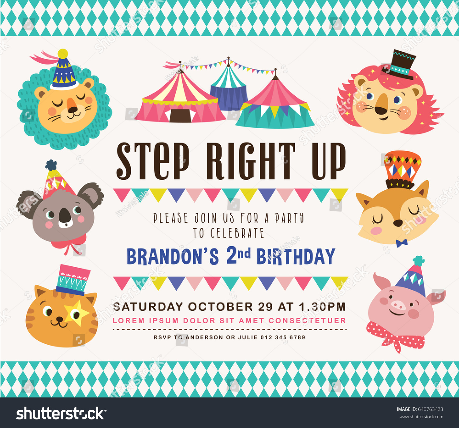 https www shutterstock com image vector kids birthday party invitation card circus 640763428
