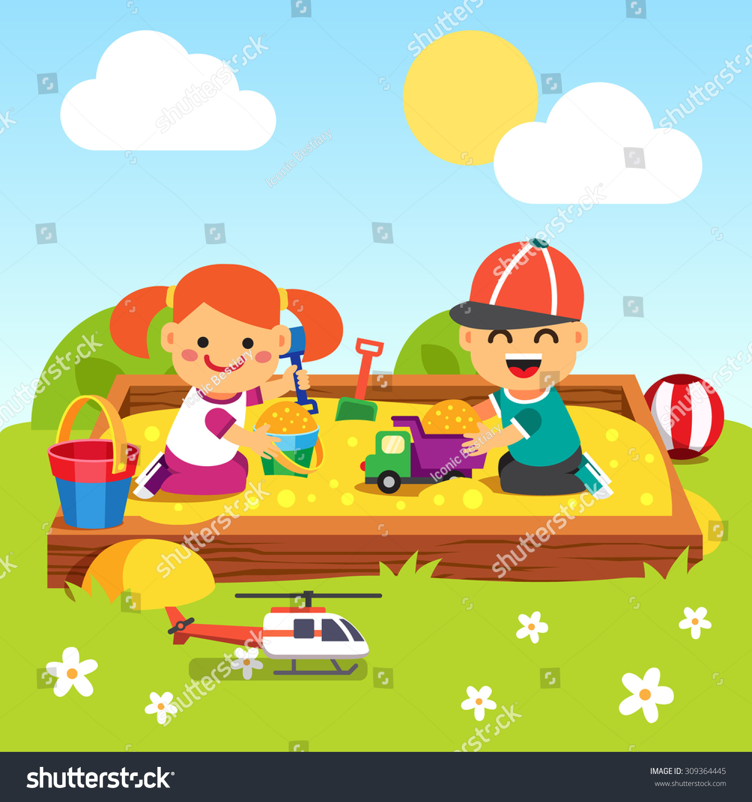Kids Boy Girl Playing Kindergarten Sand Stock Vector