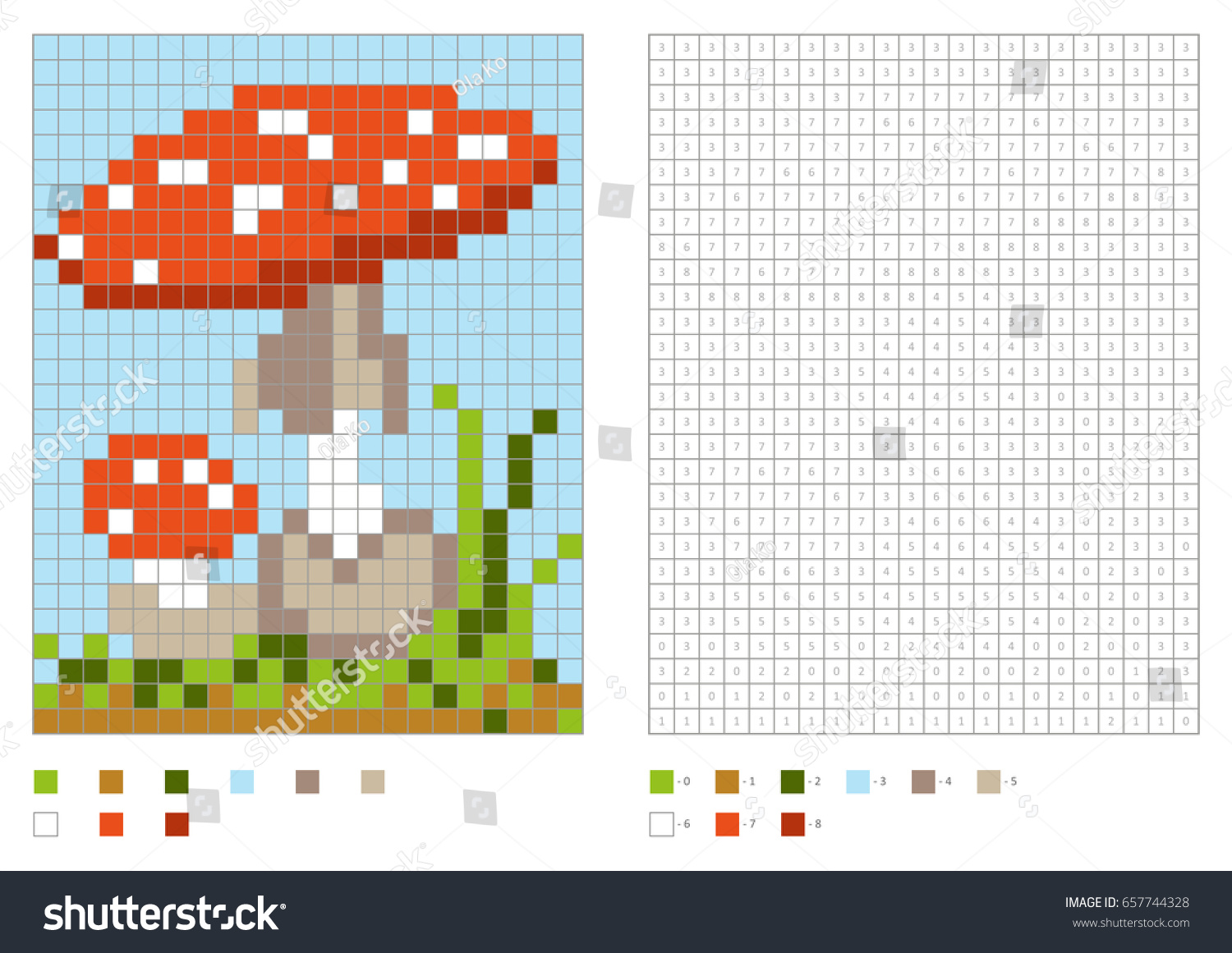 Kids Coloring Page Pixel Coloring Poisonous Stock Vector