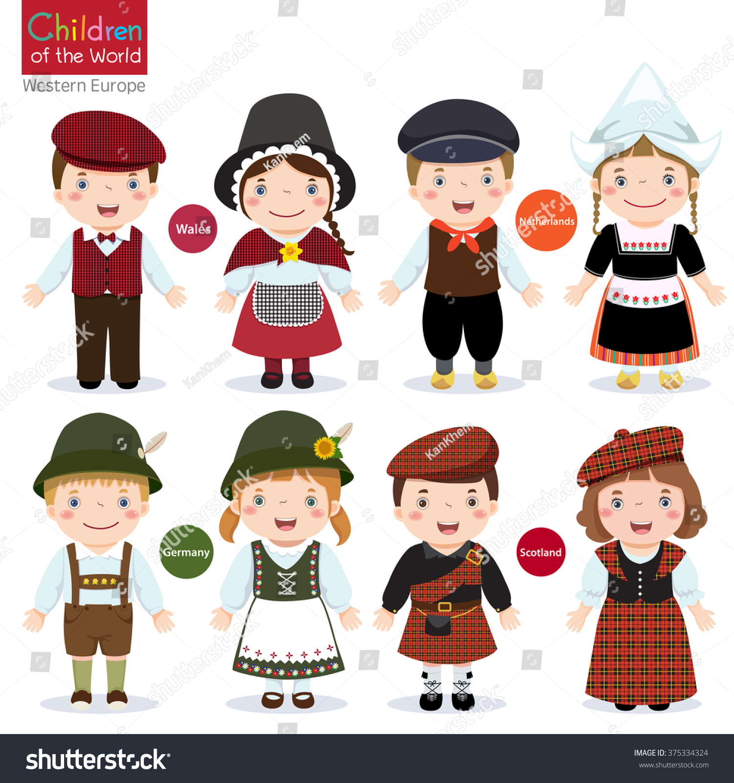 Kids Different Traditional Costumes Wales Netherlands
