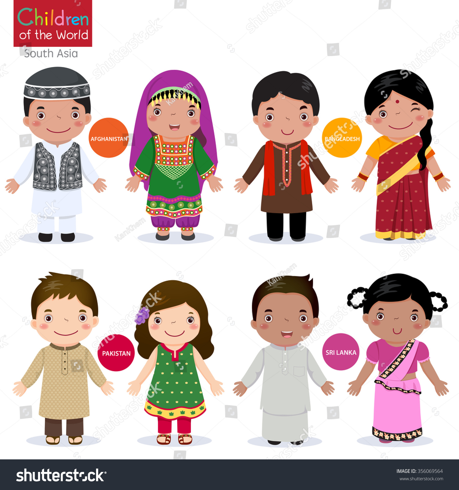 Kids Traditional Costume Afghanistan Bangladesh Pakistan