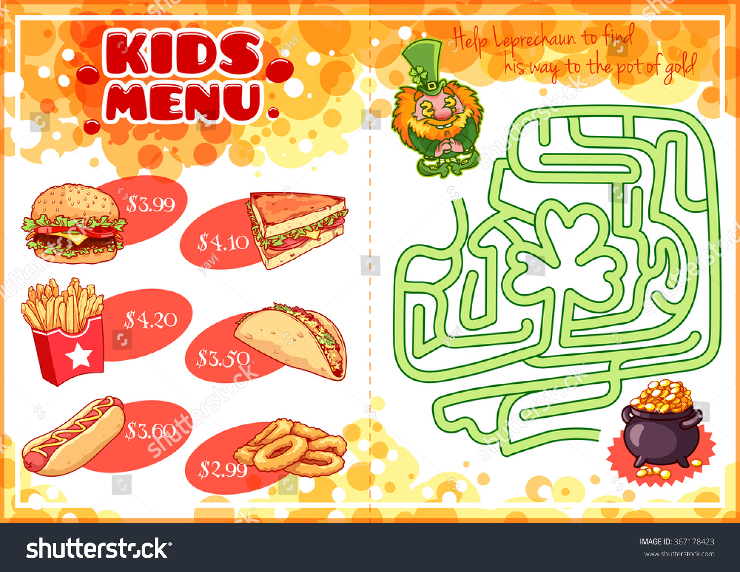 Kids Menu For Fast Food With Maze Game Hamburger Hot Dog Sandwich Tacos French Fries And