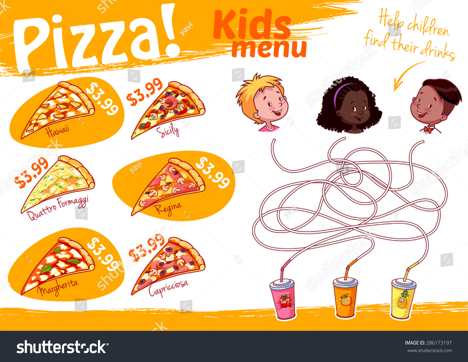 Kids Menu Pizza Maze Game Vector Stock Vector