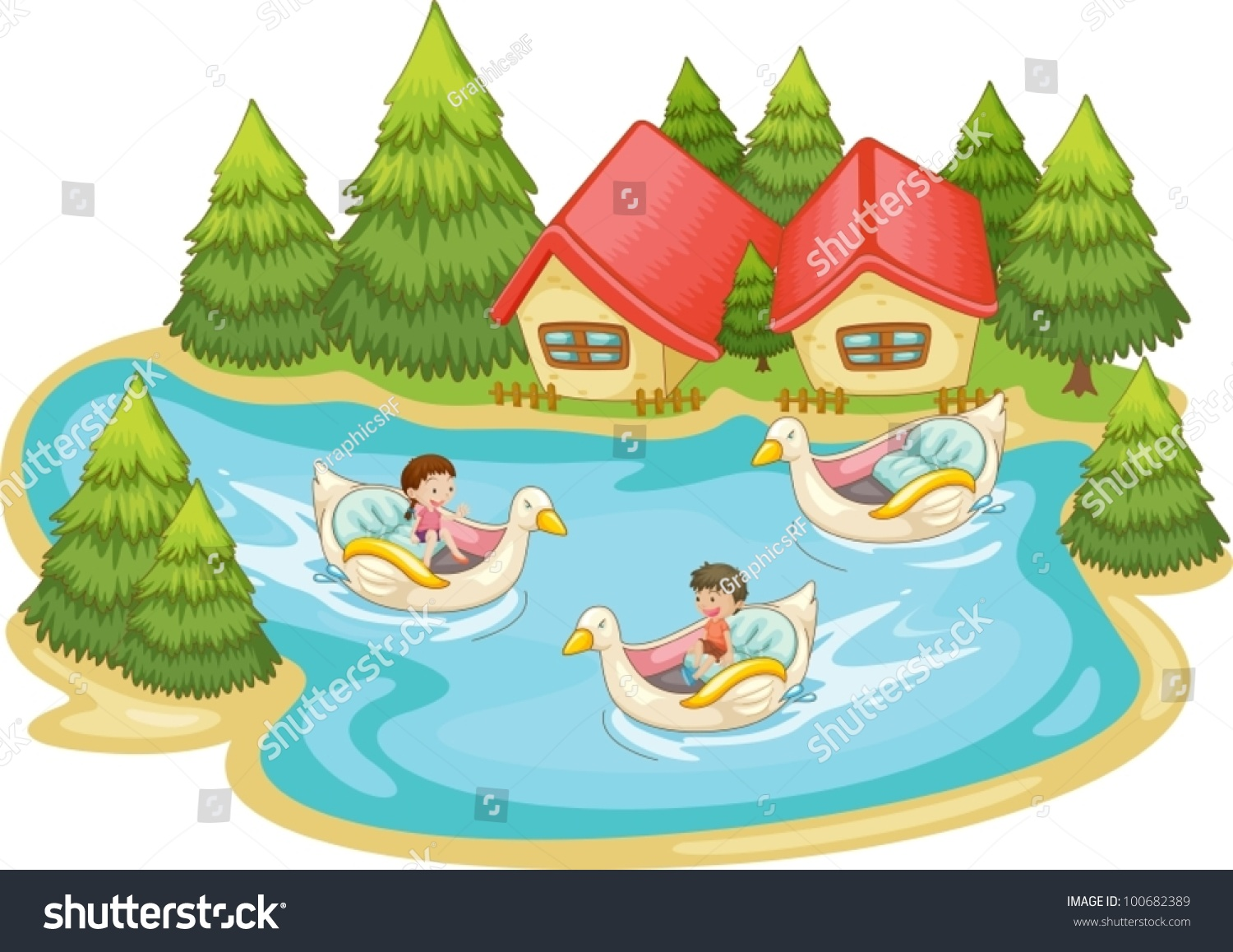 Kids Playing In The Lake Stock Vector Illustration