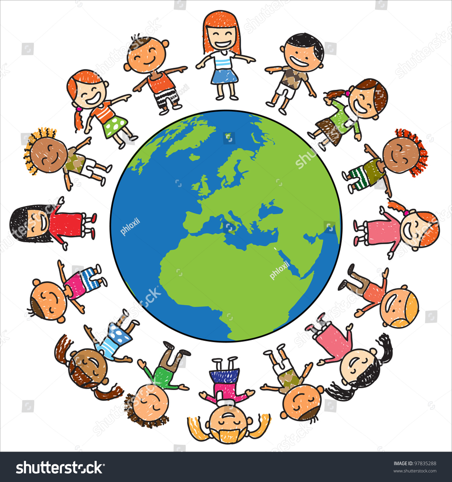Kids Save Earth Vector Stock Vector