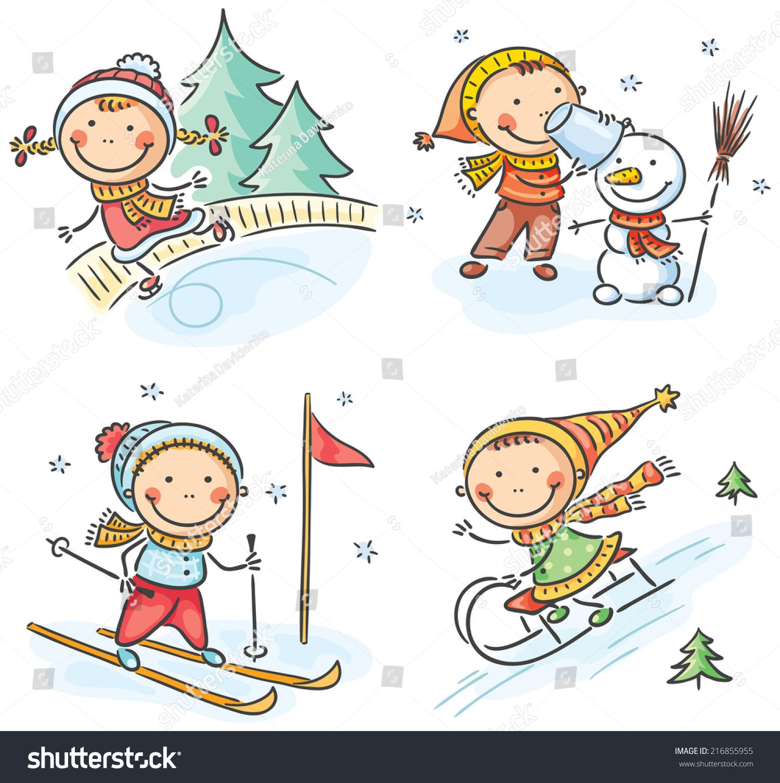 Kids Winter Outdoors Activities Stock Vector Illustration