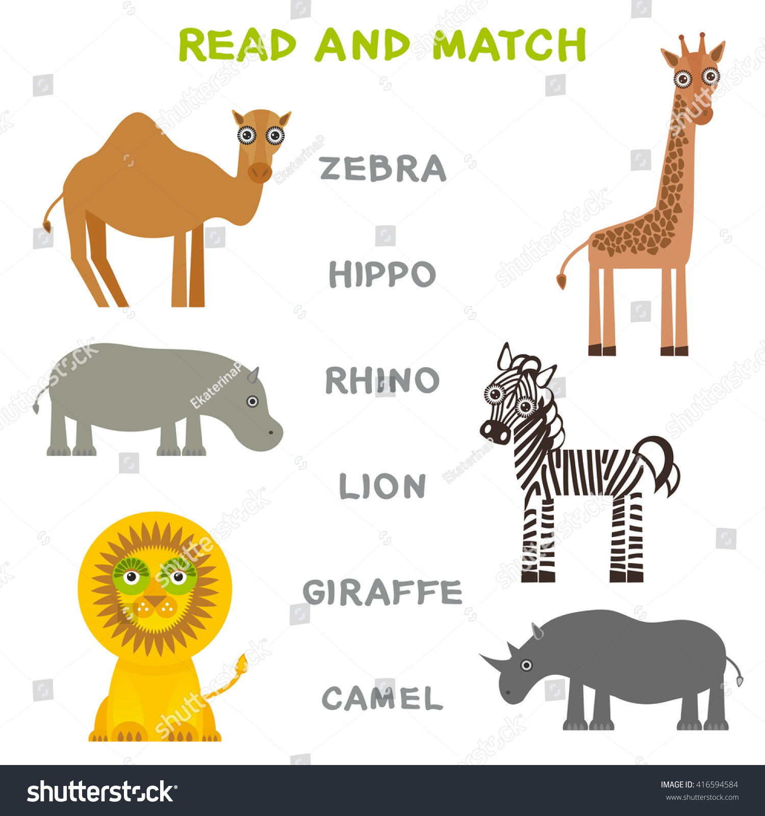 Kids Words Learning Game Worksheet Read Stock Vector