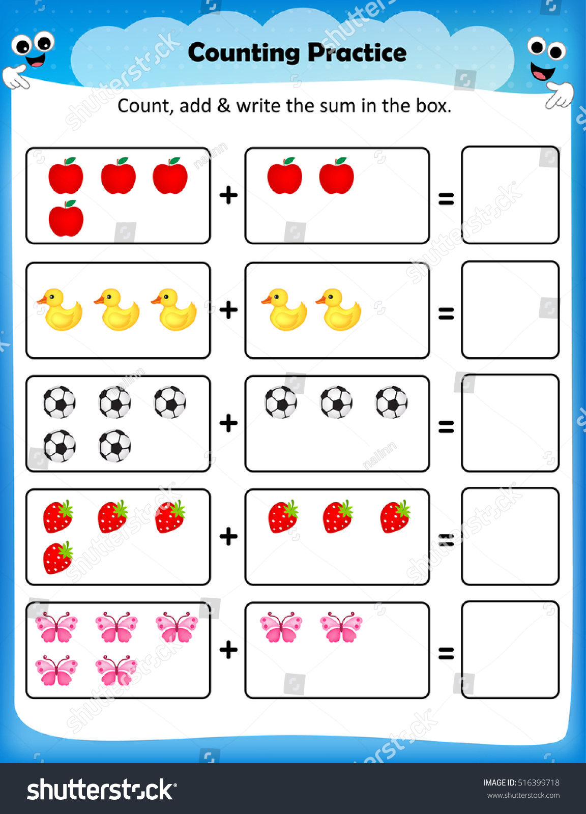 Counting Worksheet For Preschool Fun