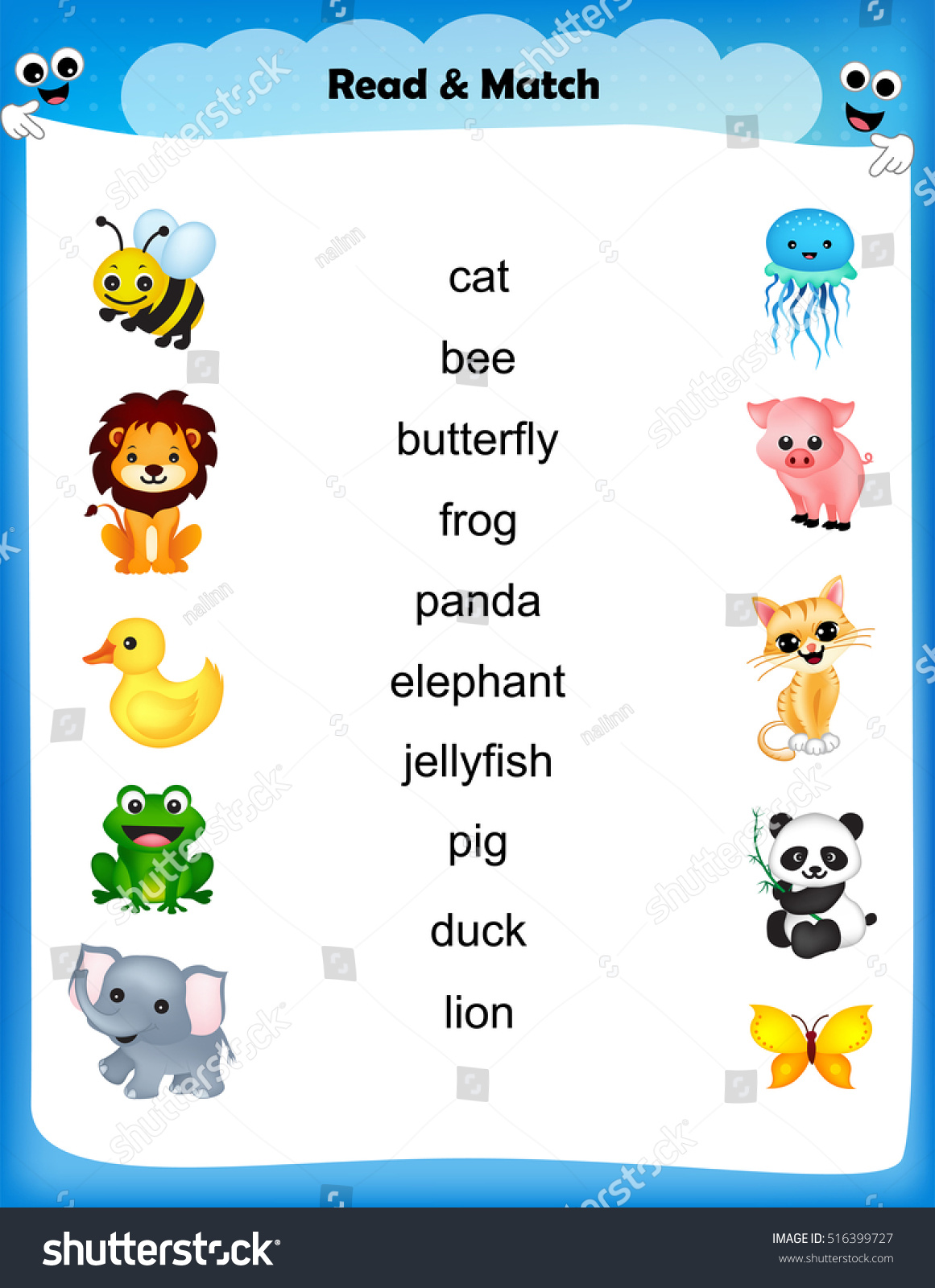 Kids Worksheet Read Match Animal Name Stock Vector