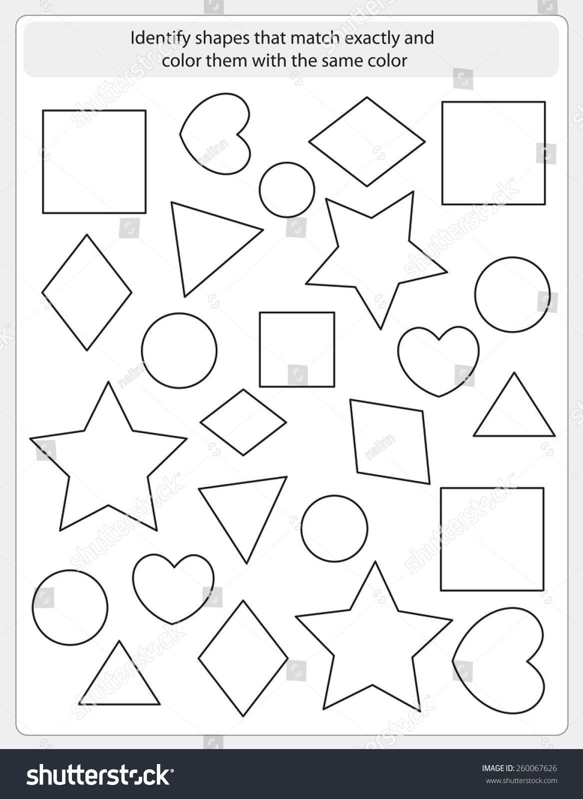 Kids Worksheet Shapes Match Color Same Stock Vector
