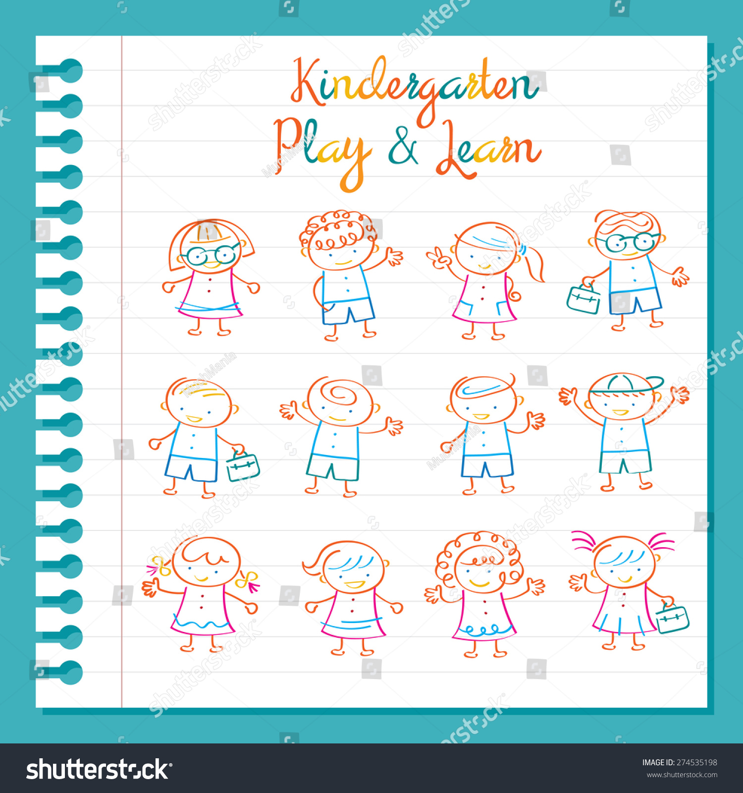 Kindergarten Line Drawing Kids Characters Set Magic