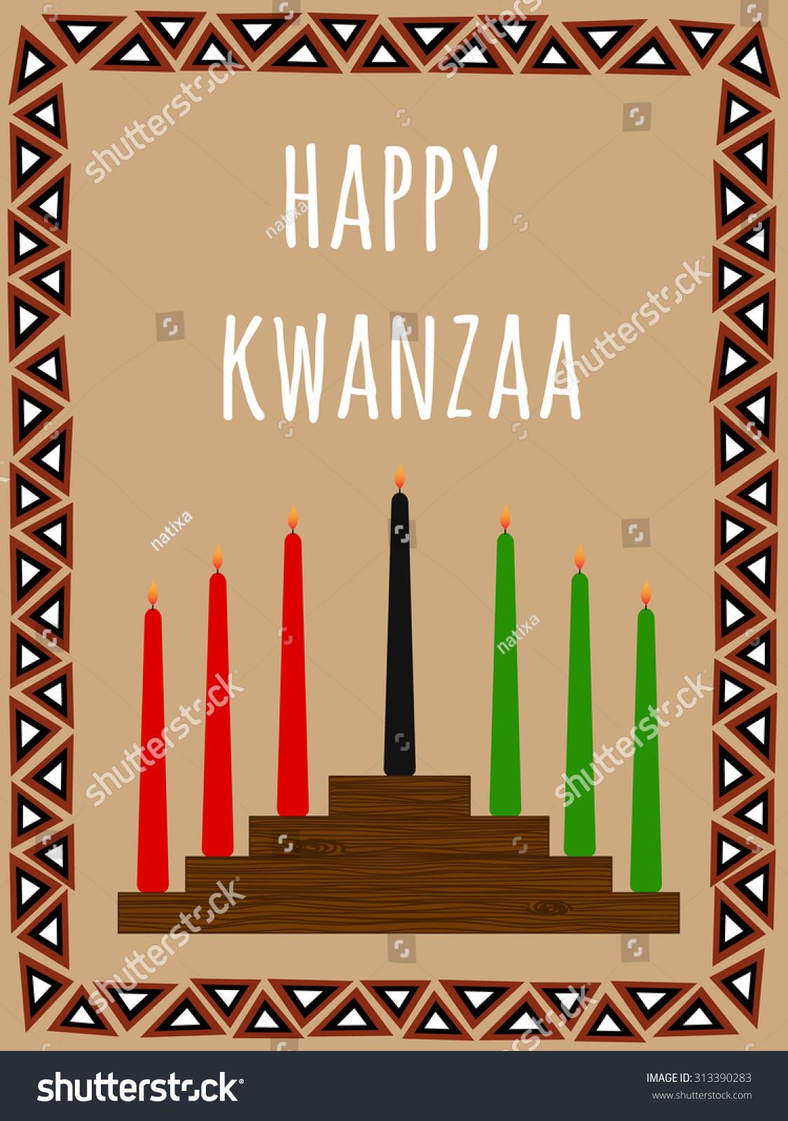 Kwanzaa Postcard Seven Candles Candlestick African Stock