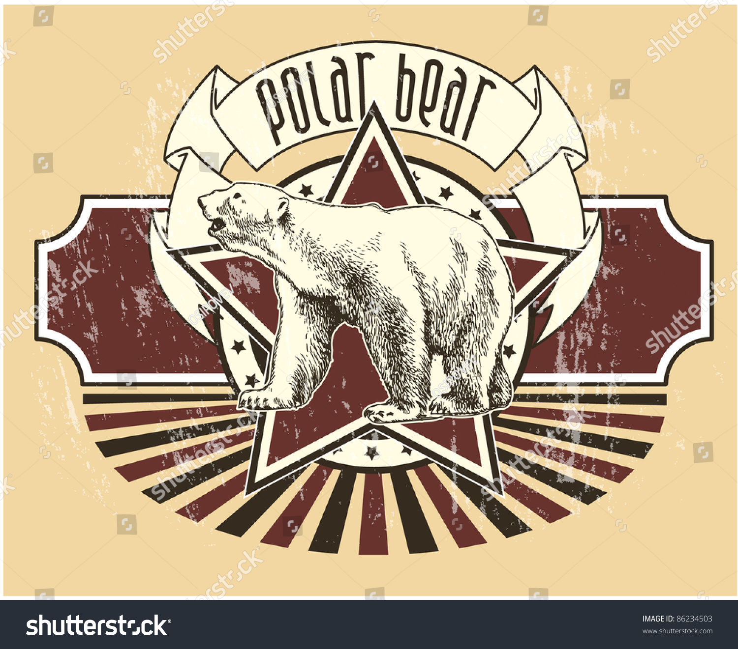 Label Polar Bear Stock Vector