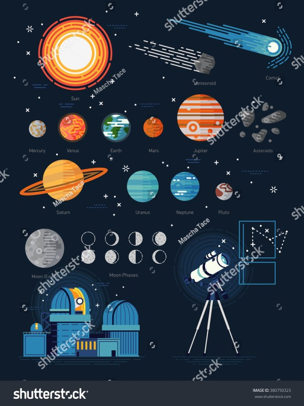 Large Vector Set Astronomy Flat Icons Stock Vector ...