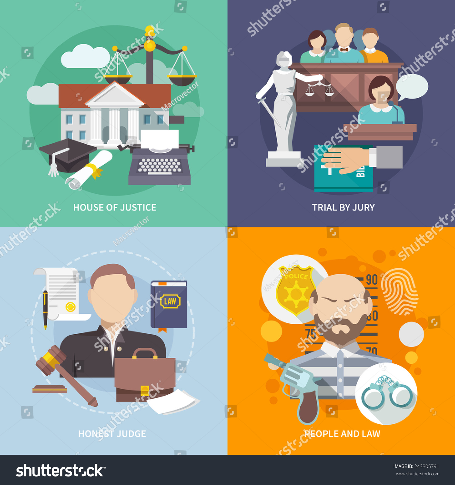 Law Design Concept House Justice Trial Stock Vector