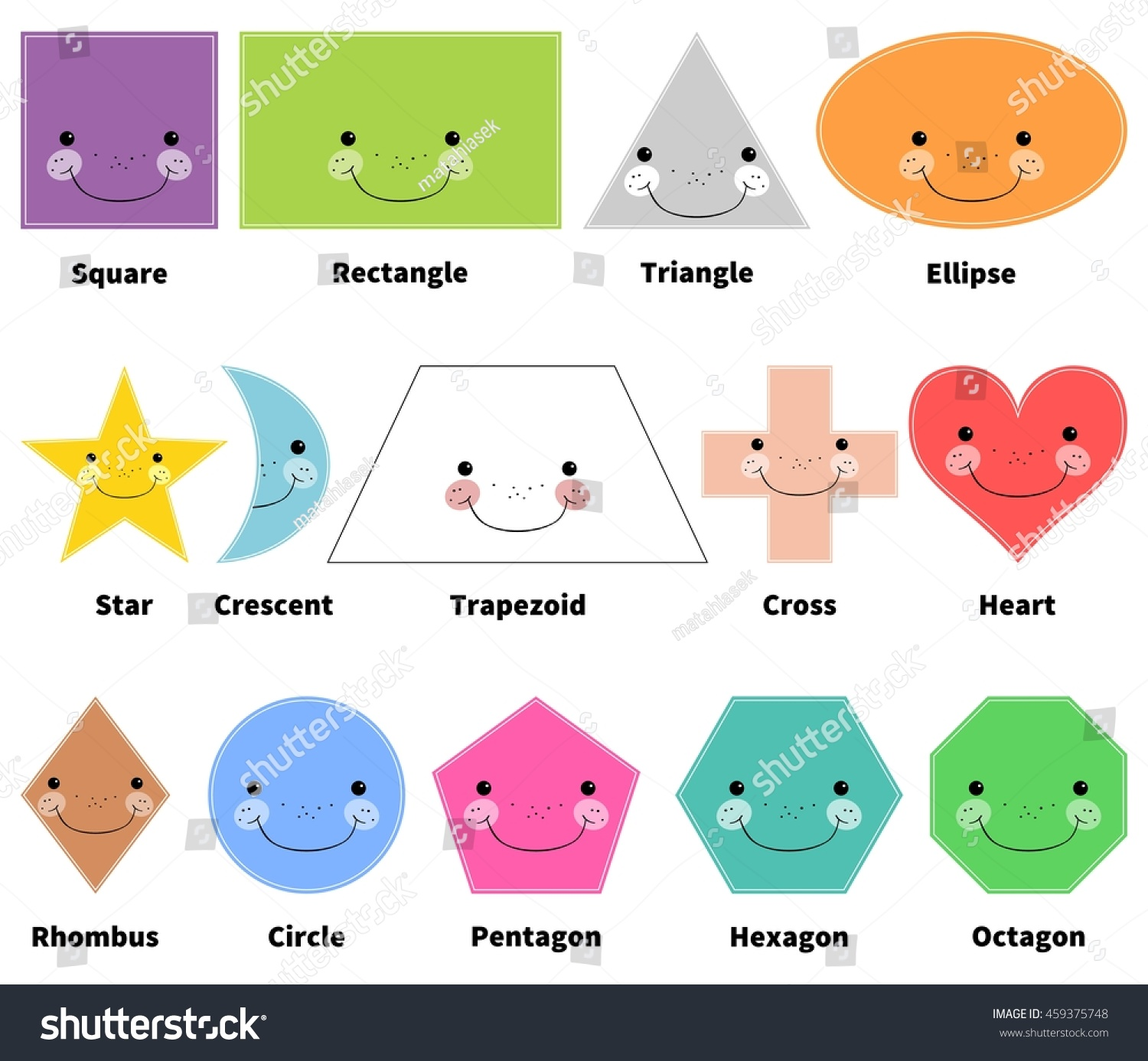 Learn 2d Shapes Cartoon Smiling Shapes Stock Vector