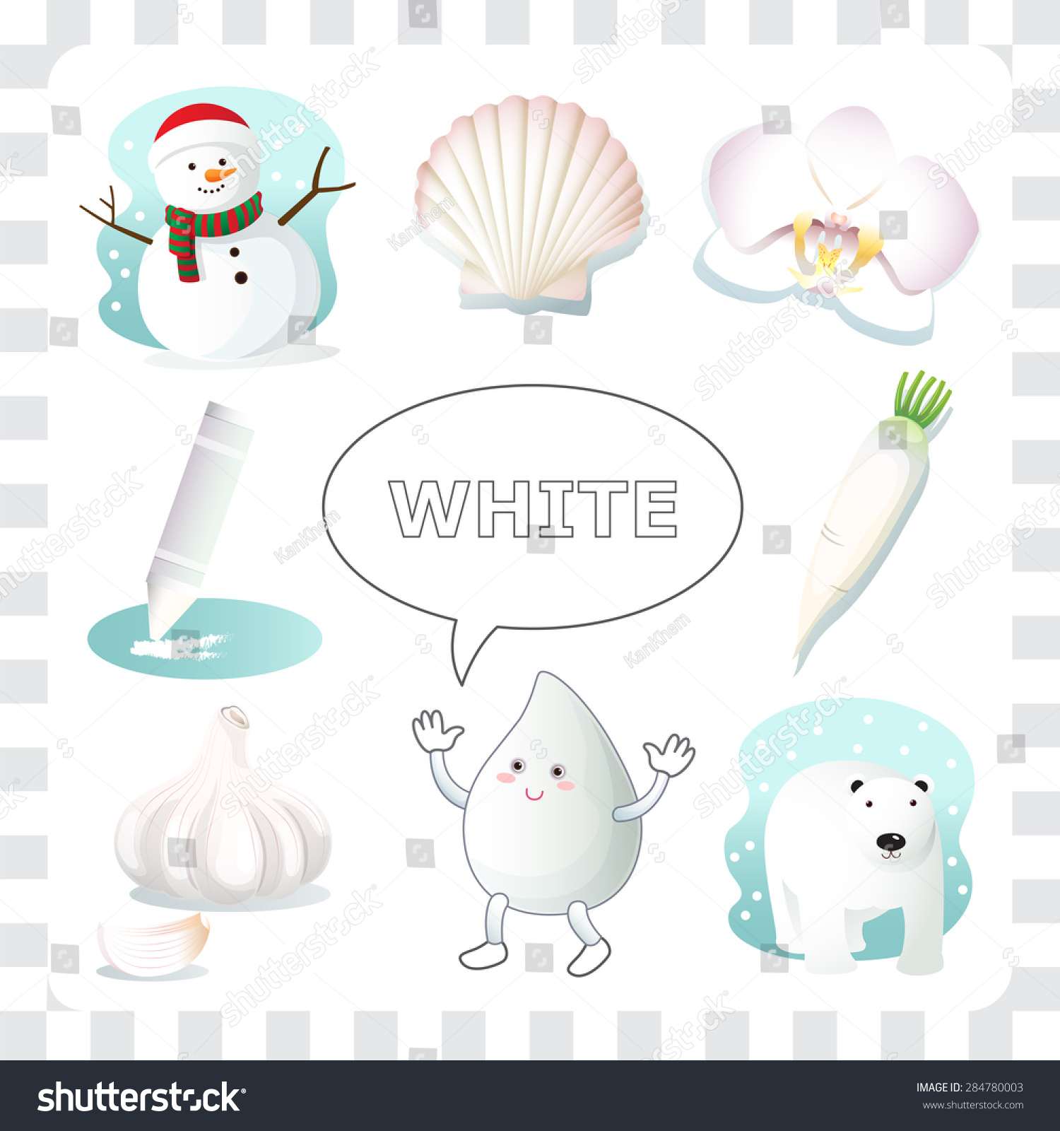 Learn Color White Things That White Stock Vector