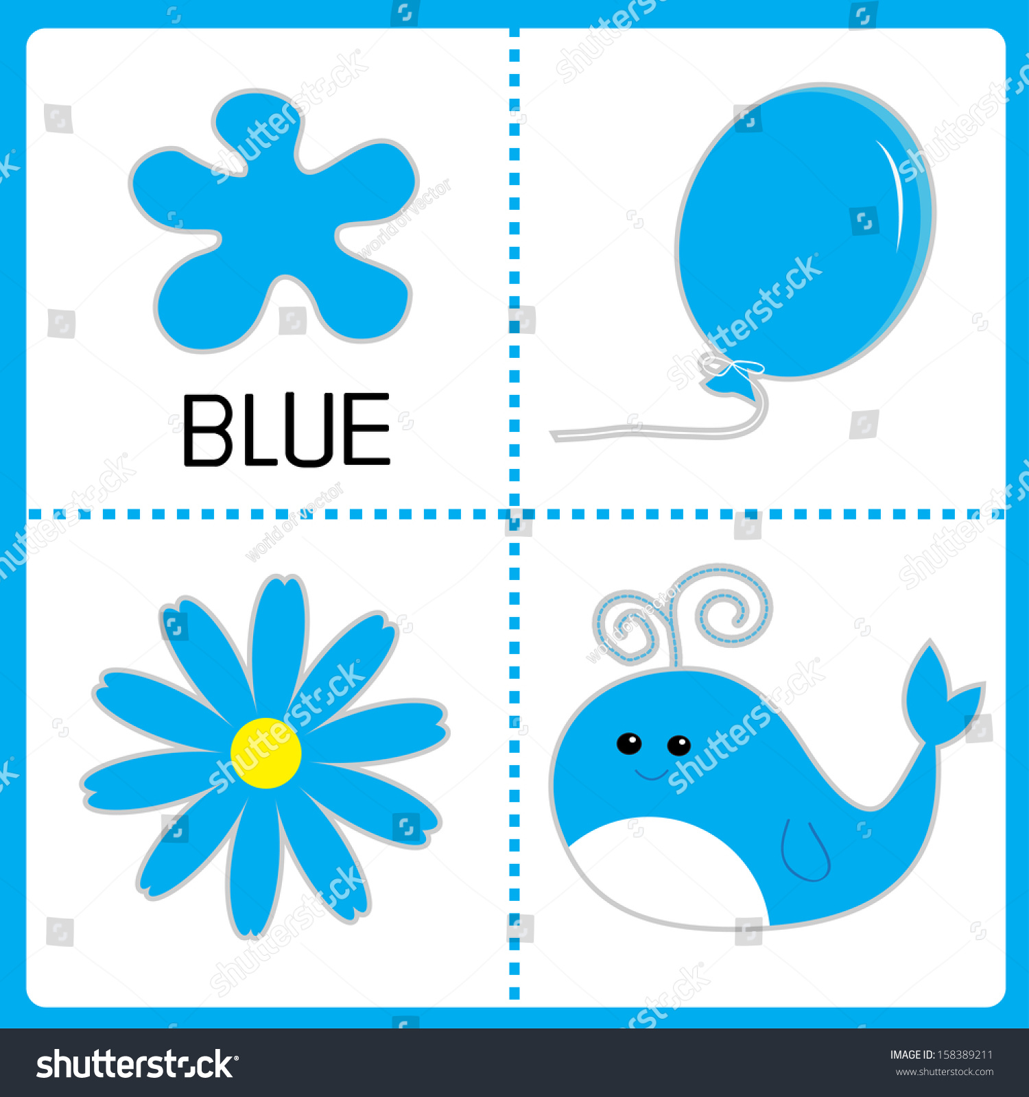 Learning Blue Color Balloon Flower Whale Stock Vector
