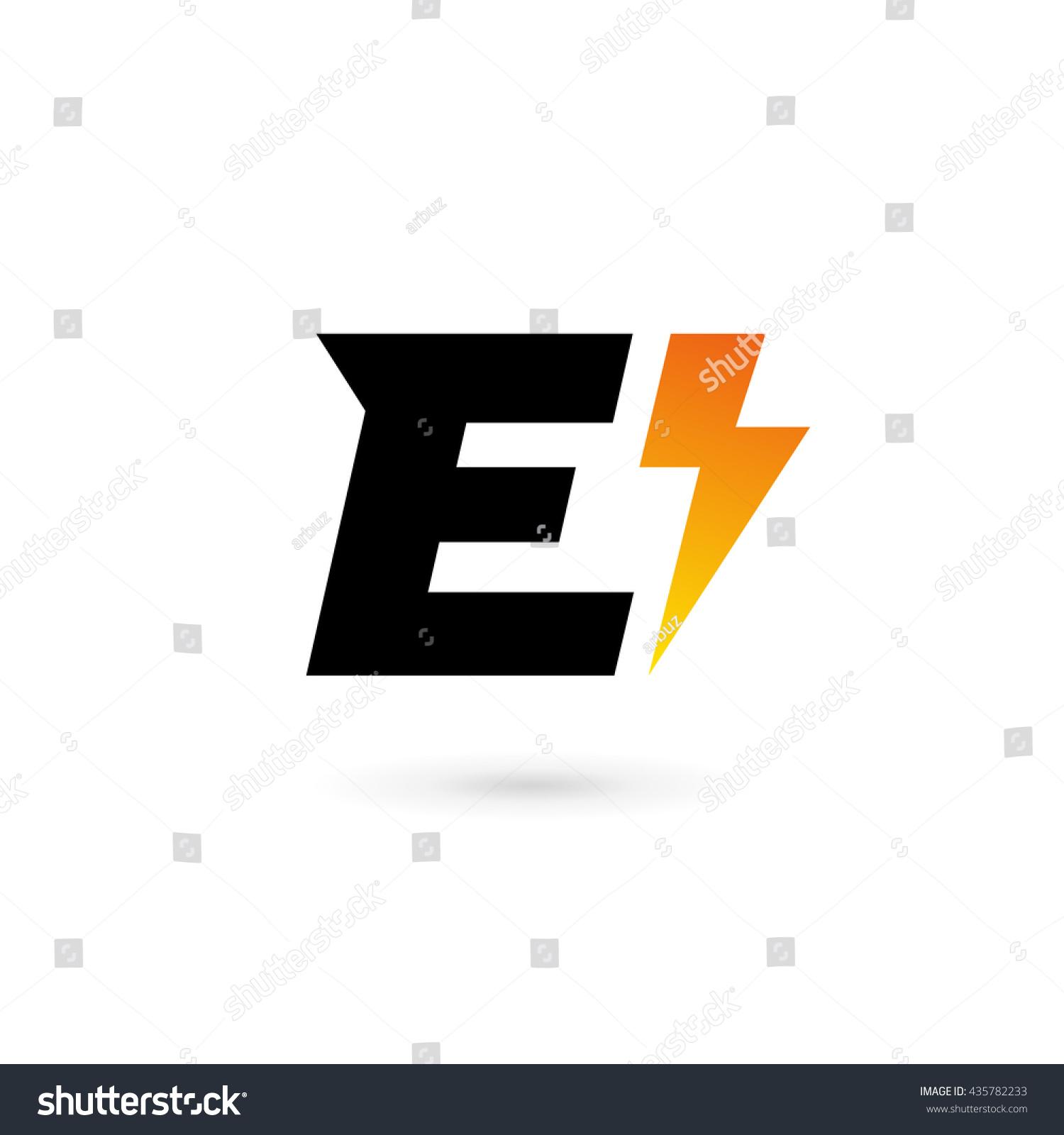 Letter E Lightning Logo Icon Design Stock Vector