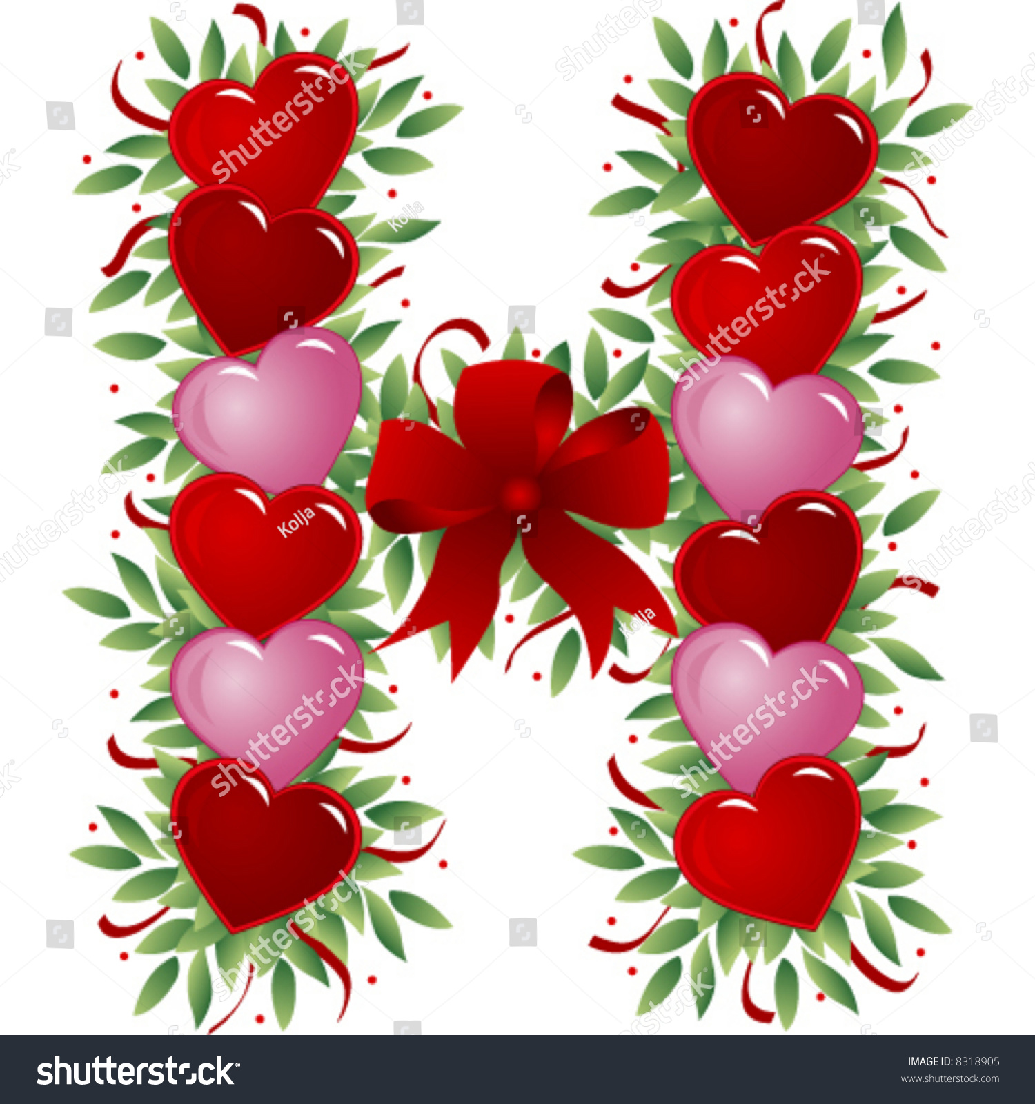 Letter H Valentines Love Letters Stock Vector