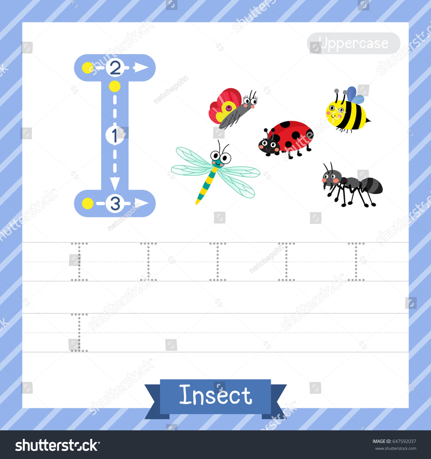Letter Uppercase Tracing Practice Worksheet Insect Stock