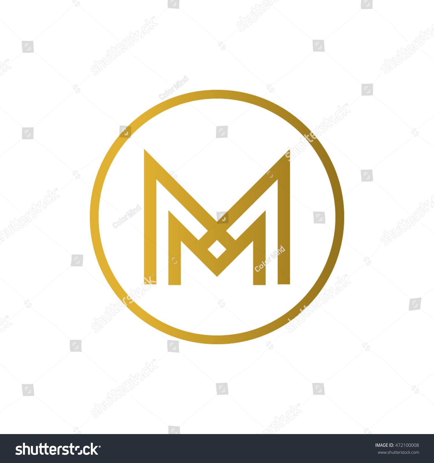 Letter M Logo Circle Mm Monogram Stock Vector