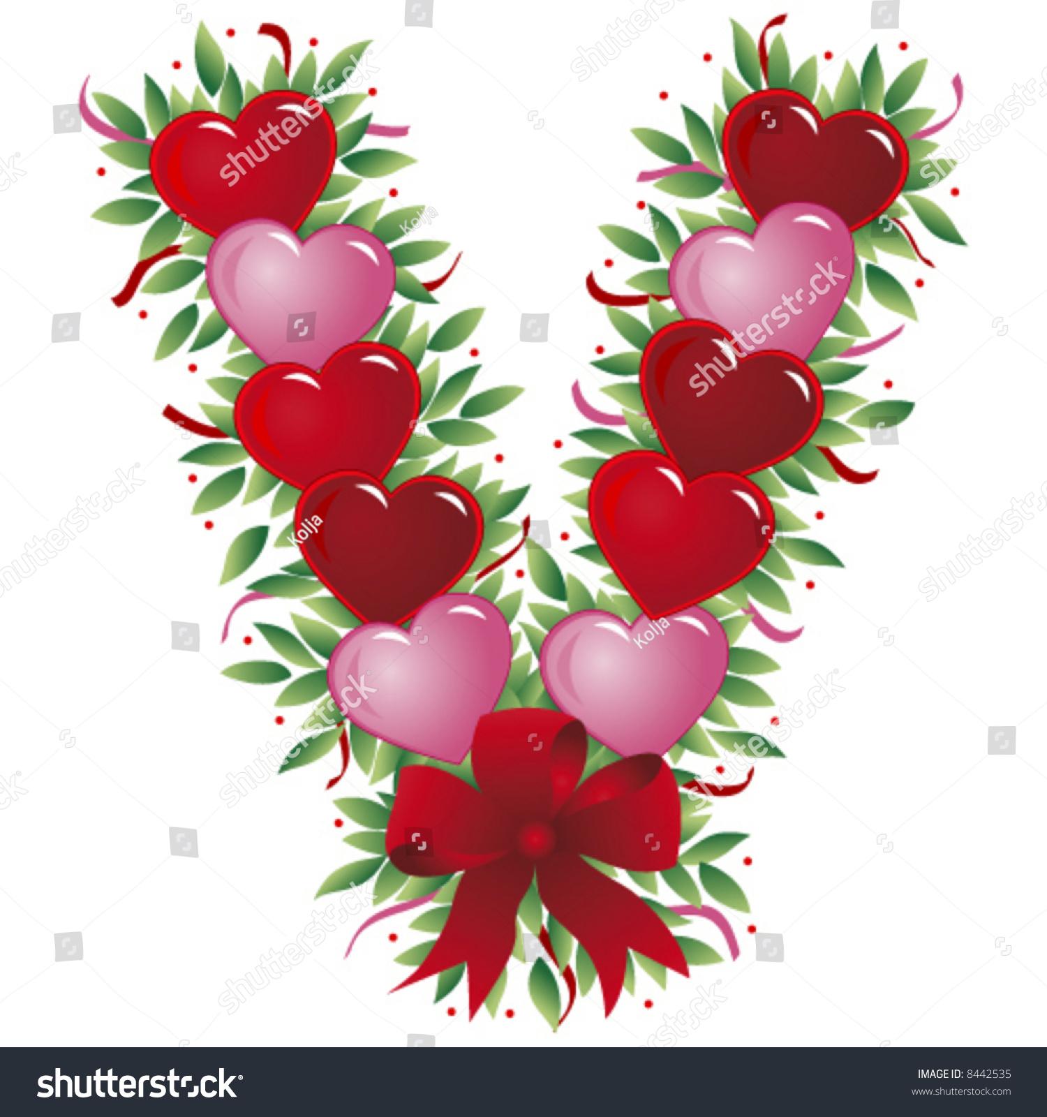 Letter V Valentine Heart Letter Stock Vector
