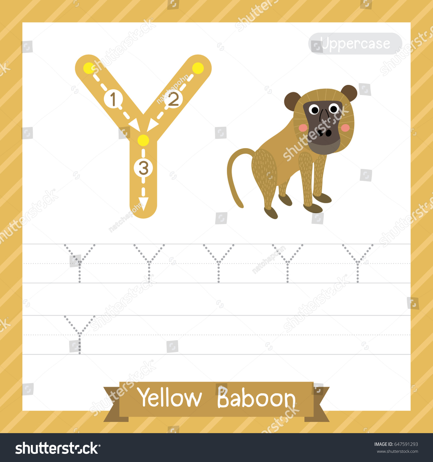 Letter Y Uppercase Tracing Practice Worksheet Stock Vector