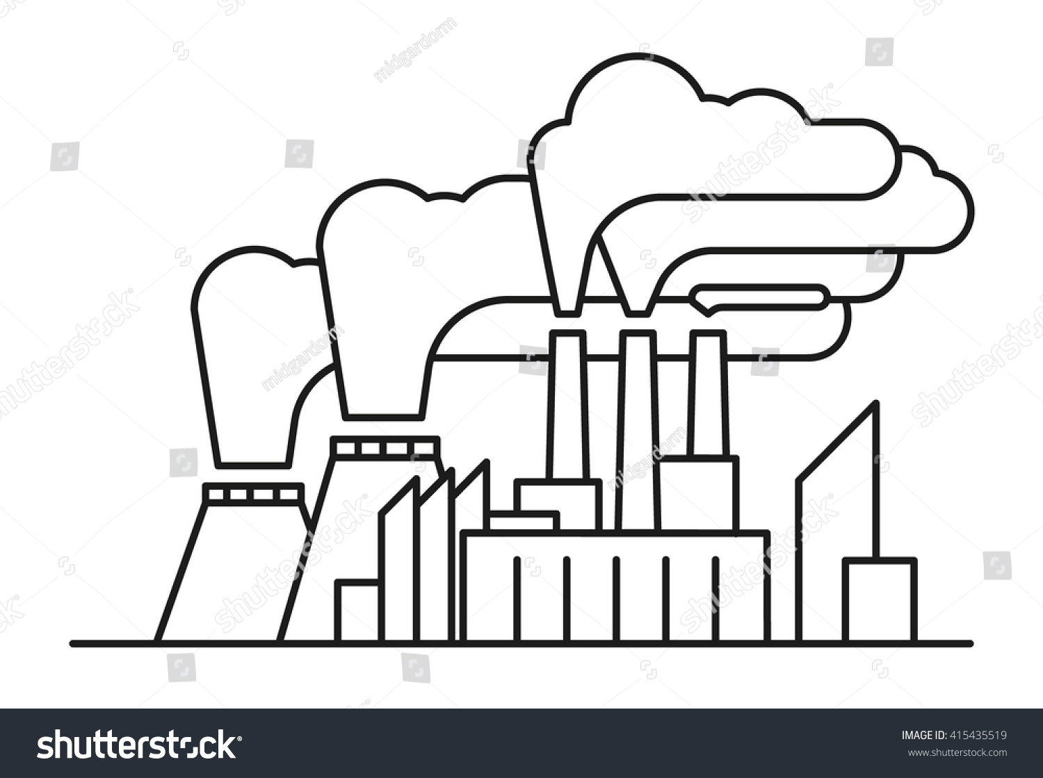 Line Art Illustration Poisonous Air Pollution Stock Vector