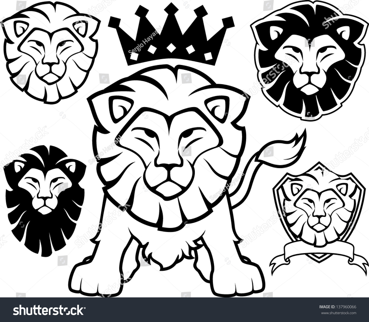 Lion Head Designs Isolated On White Stock Vector