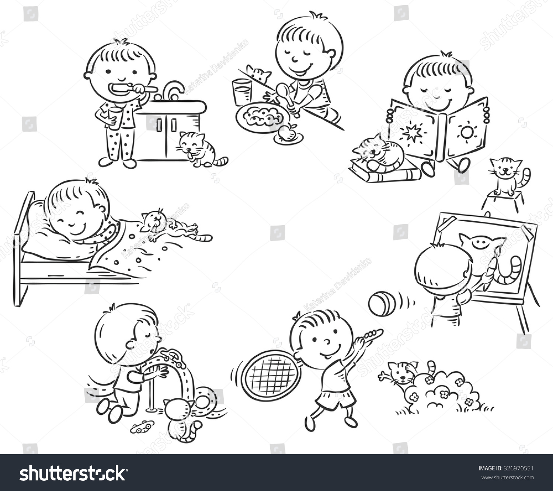 Little Boys Daily Activities Black White Stock Vector