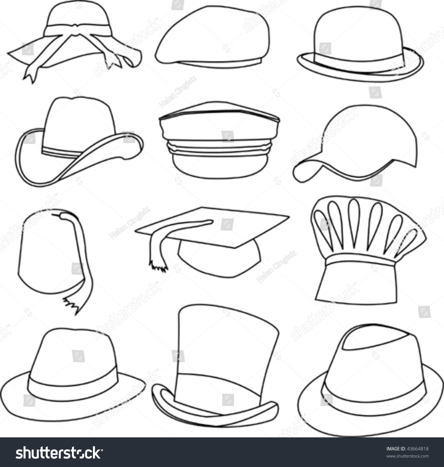 Lots Hats Line Style Drawing Stock Vector