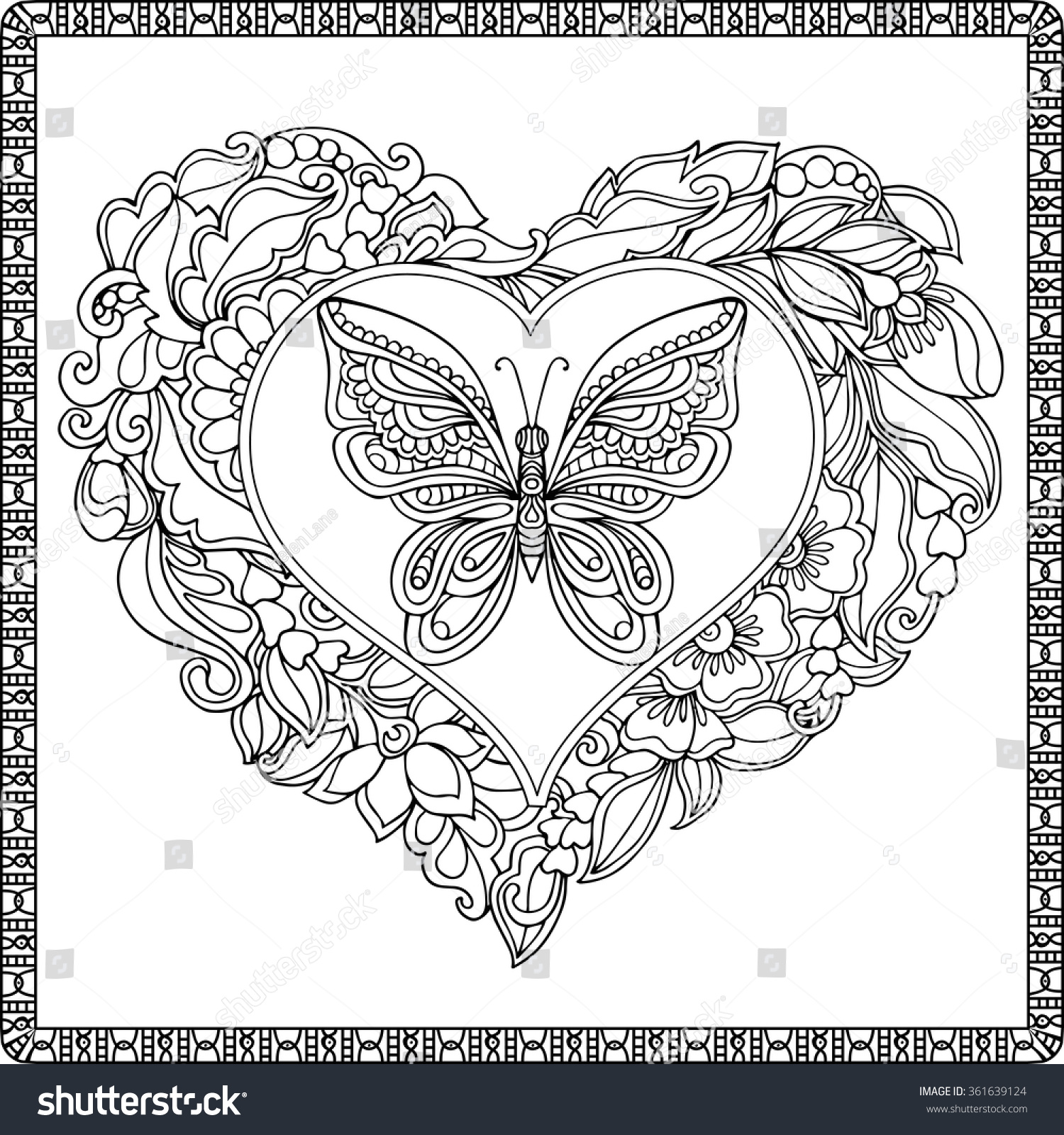 Love Heart With Butterfly Coloring Book For Adult And