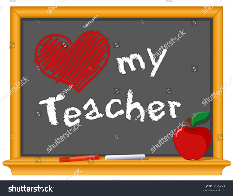 Love My Teacher Big Red Heart Stock Vector