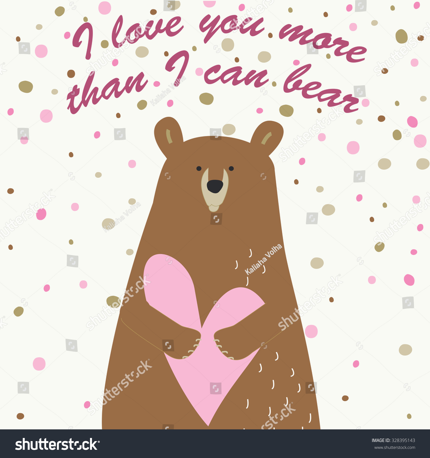 Love Printable With Cute Bear Holding Heart I Love You