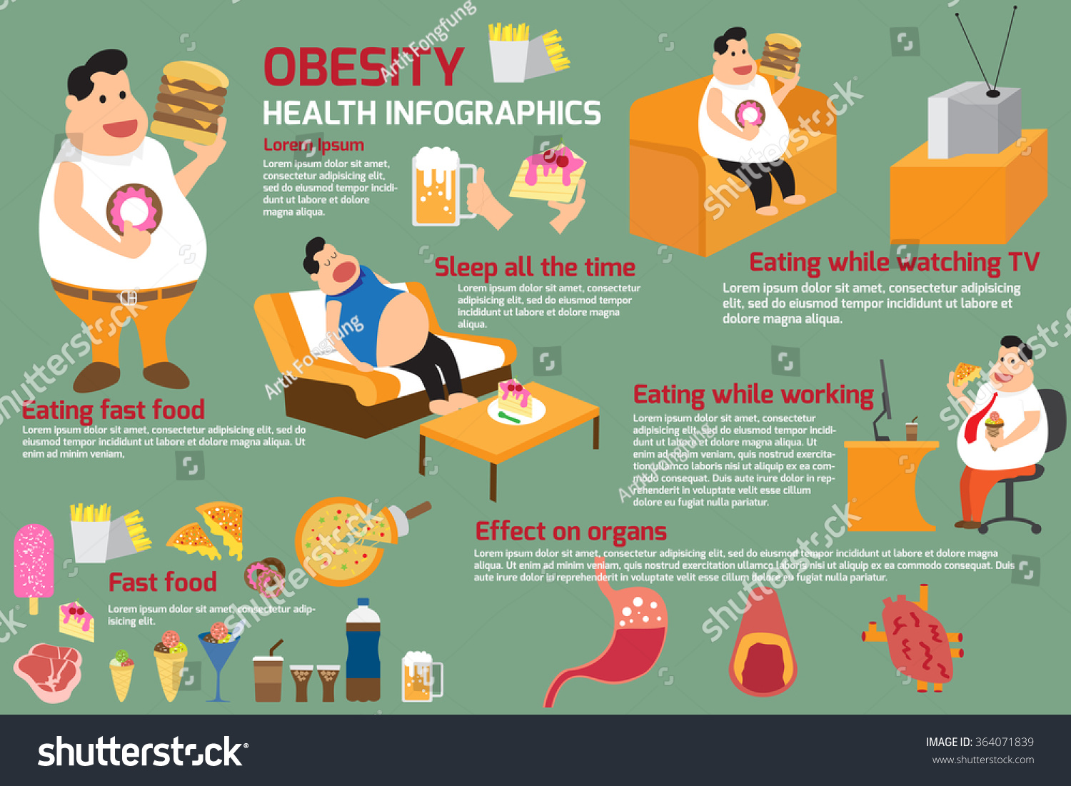 Man Activity With Junk Food Obesity Infographics This Content Show Obesity Reason And Symptoms